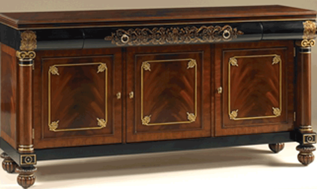 Mahogany and Black Lacquer Finished TV Stand