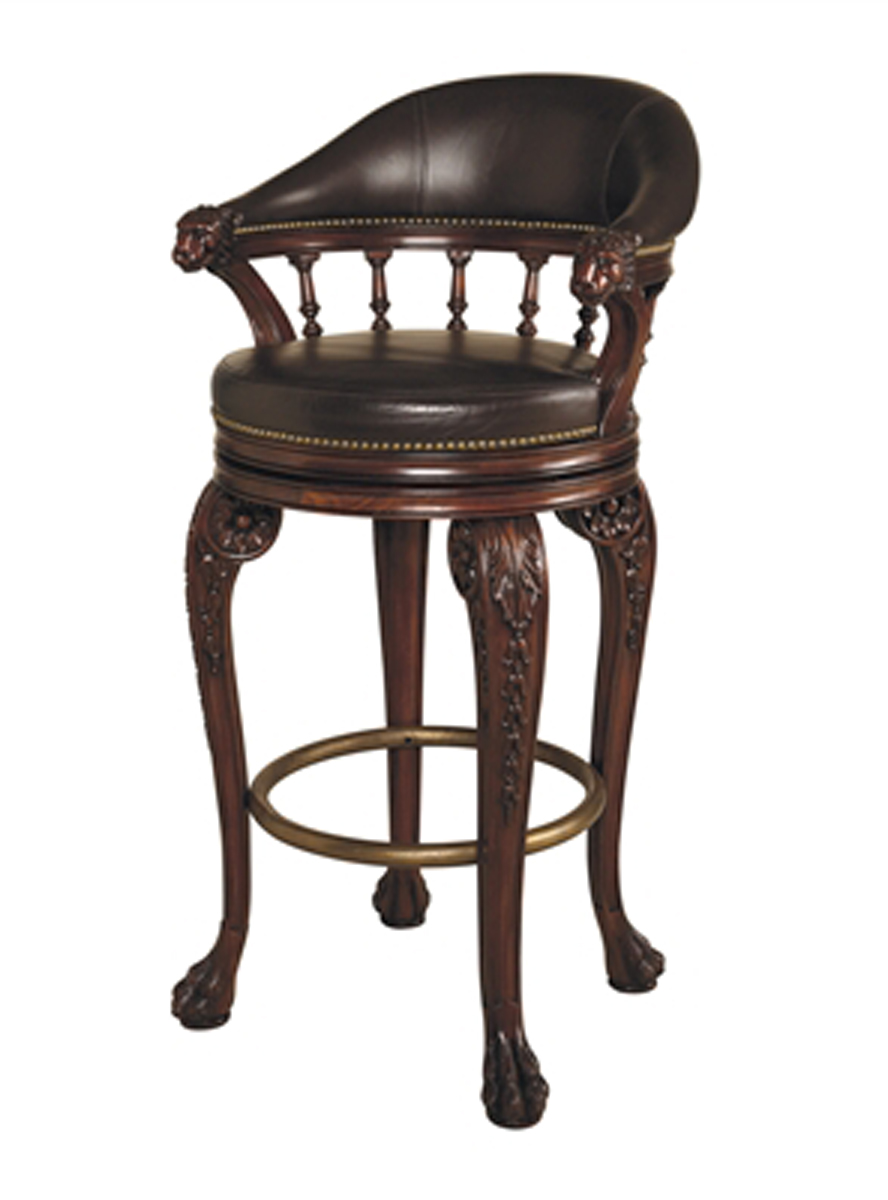 Mahogany Finished Swivel Barstool