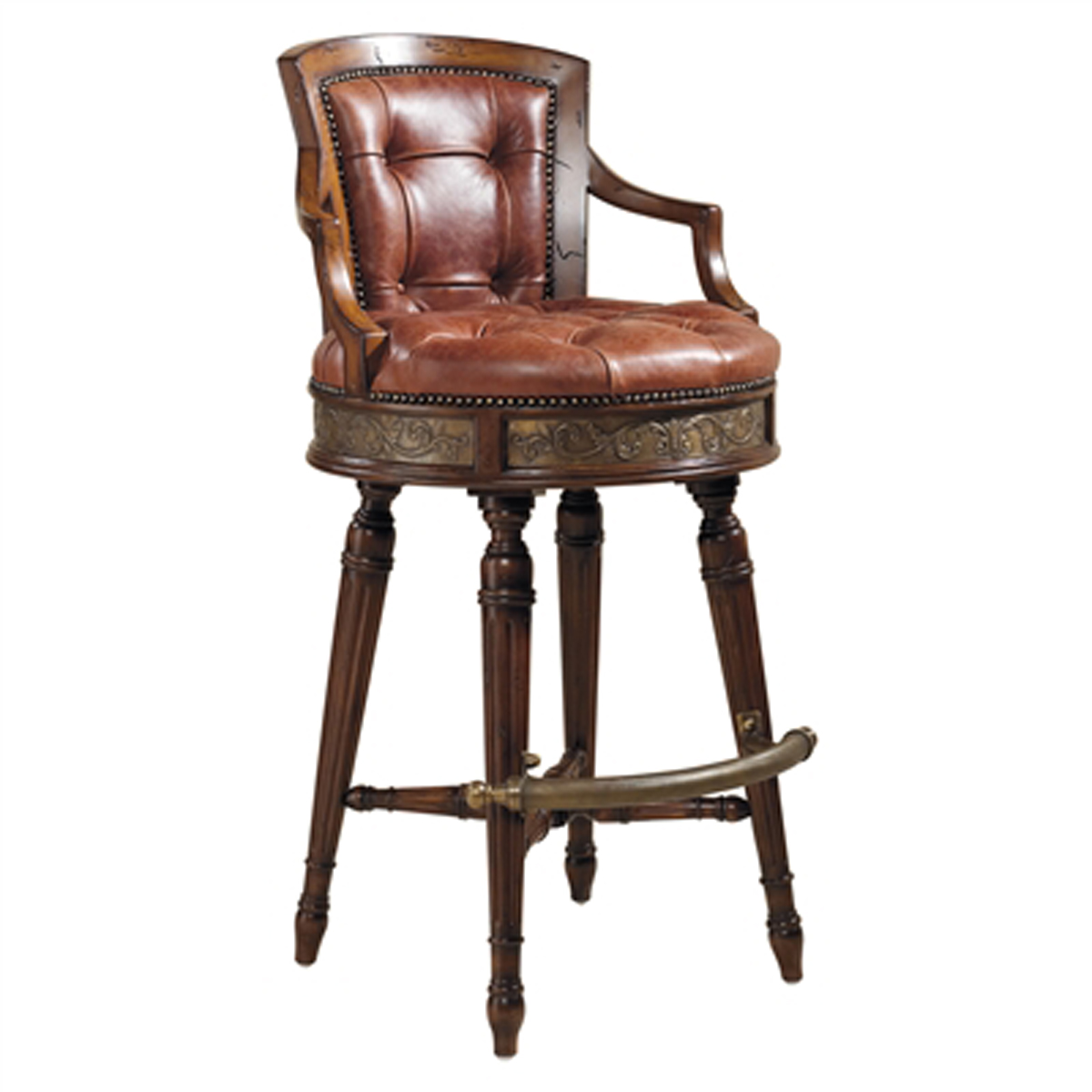 Frontier Finished Mahogany Swivel Barstool