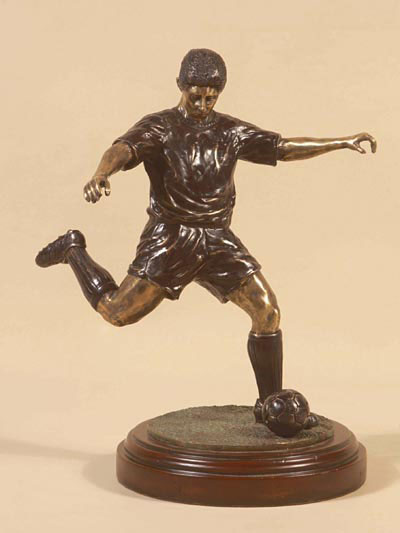 Dark Bronze Patına and Antıque Brass Soccer Player