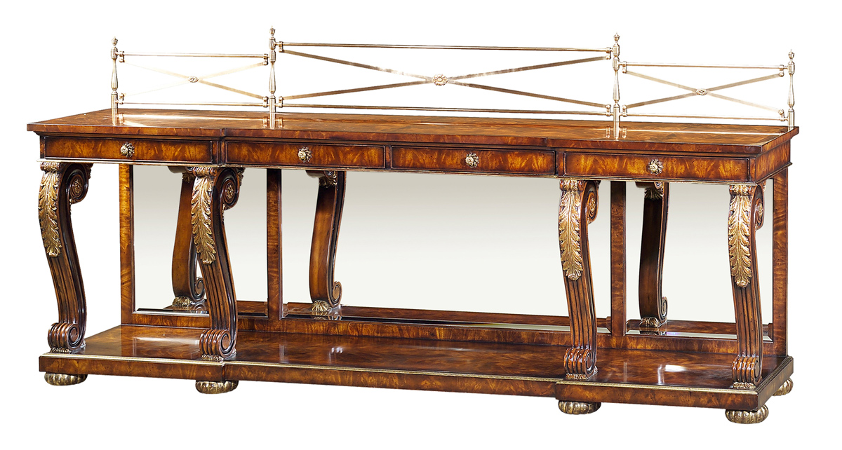 A mahogany breakfront console table