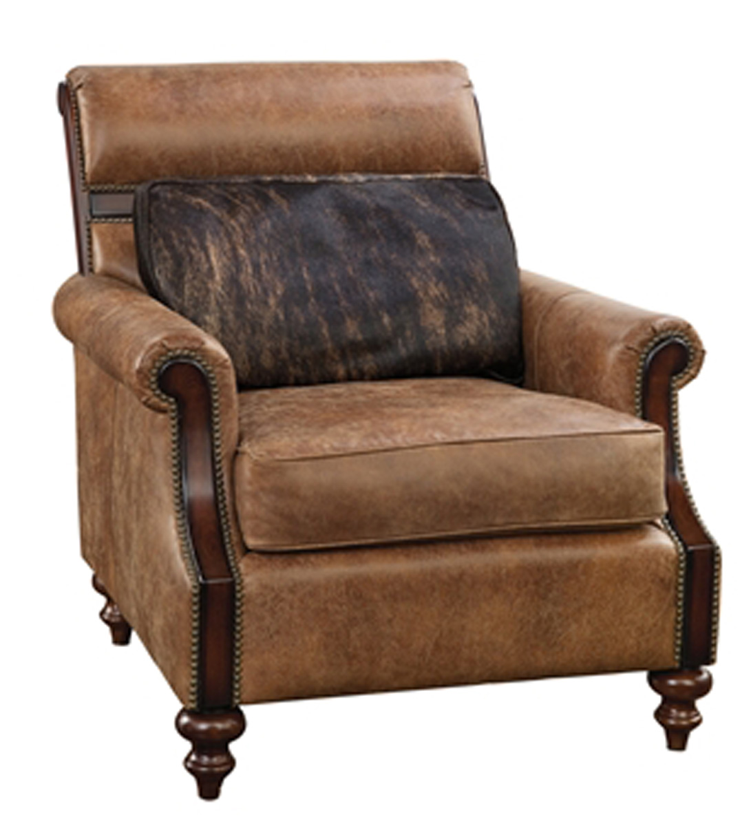 Light Tan Leather Upholstered Occasional Chair