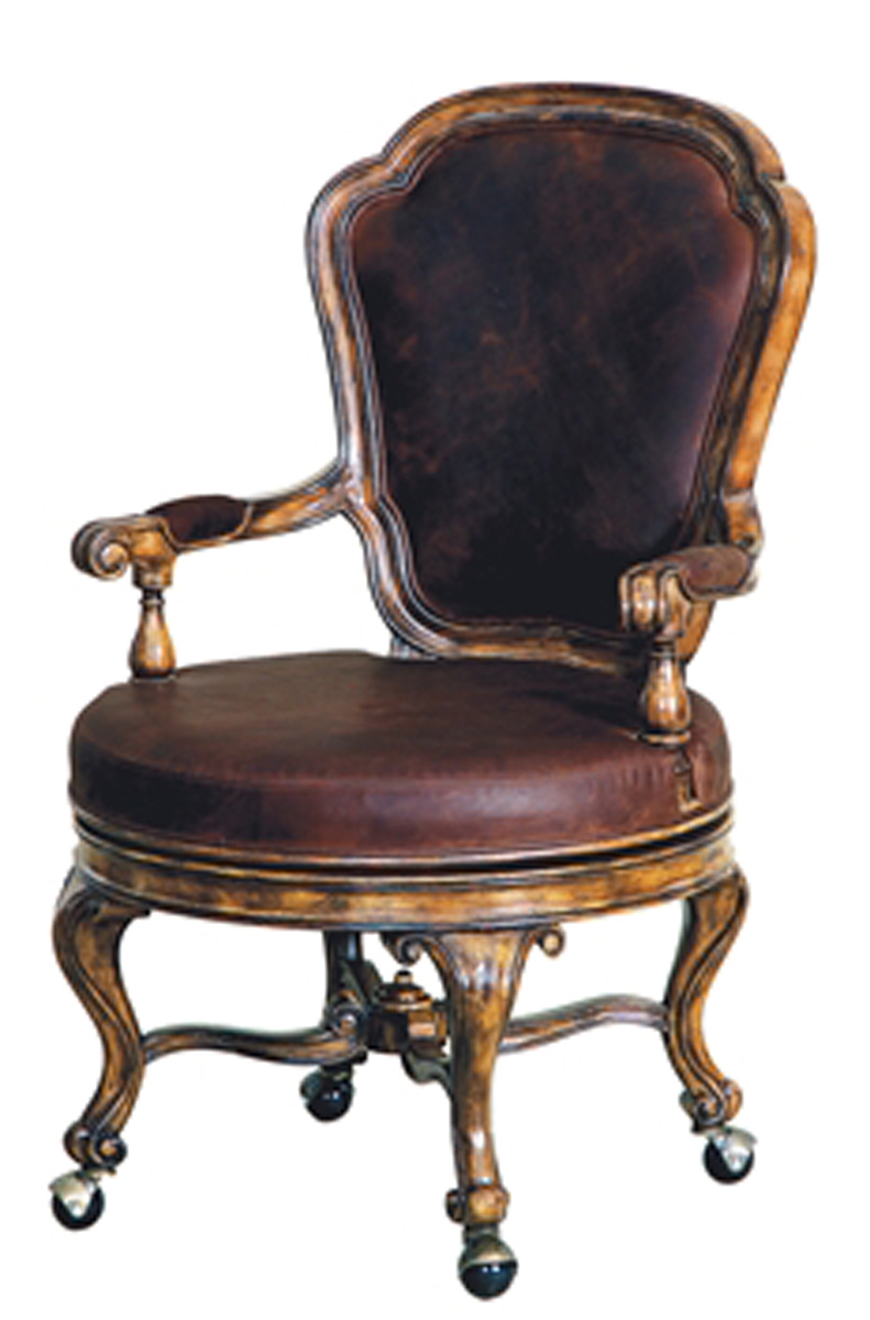 Dark Wellington Cottage Finish Swivel Game Chair