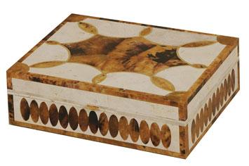 Whıte Fossıl Stone and Tıger Penshell Inlaıd Box