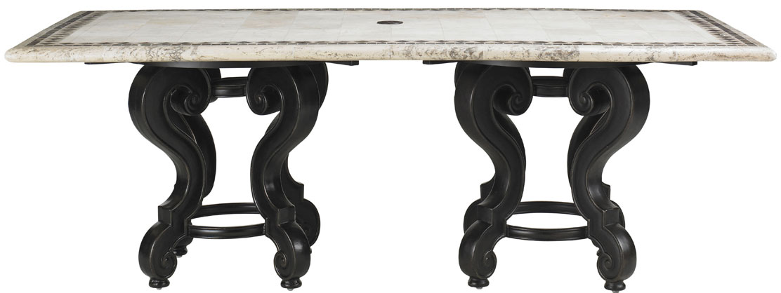 RECTANGULAR PEDESTAL DINING TABLE BASE