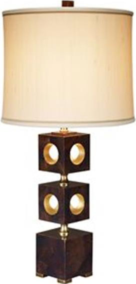 Brown Penshell Inlaıd Table Lamp