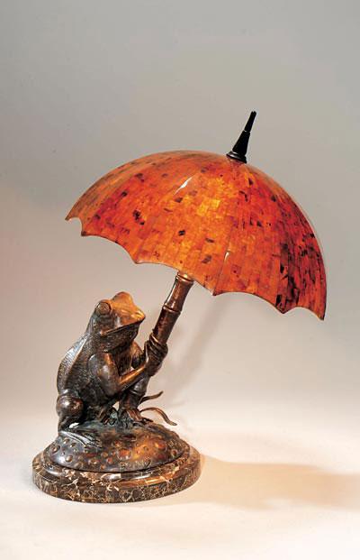 Verdıgrıs Patına Brass Frog Lamp
