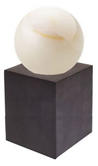 SMALL BRONZE STAND WITH ALABASTER SPHERE