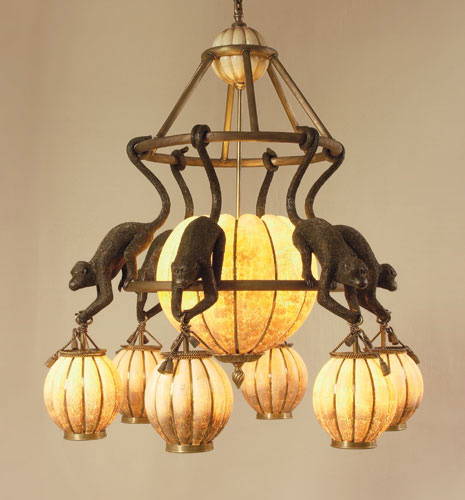 Eggshell Inlaid Lantern Chandelier with Hanging Monkeys