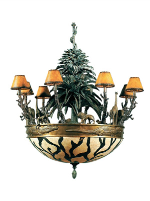 Verdigris and Antique Brass African Wildlife Chandelier