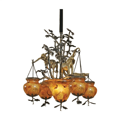 Dark Bronze and Antique Finished Brass Animal Motif Chandelier