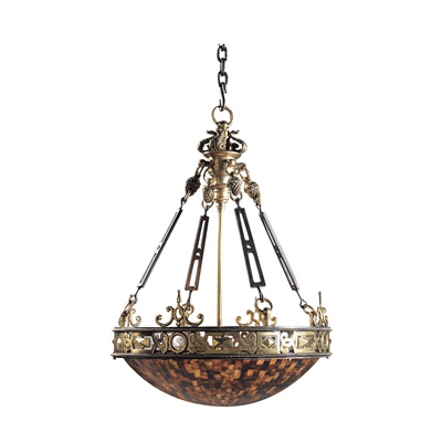 Finely Cast Brass, Iron and Penshell Empire Chandelier