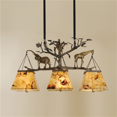 Dark Bronze Finished Cast Brass Chandelier