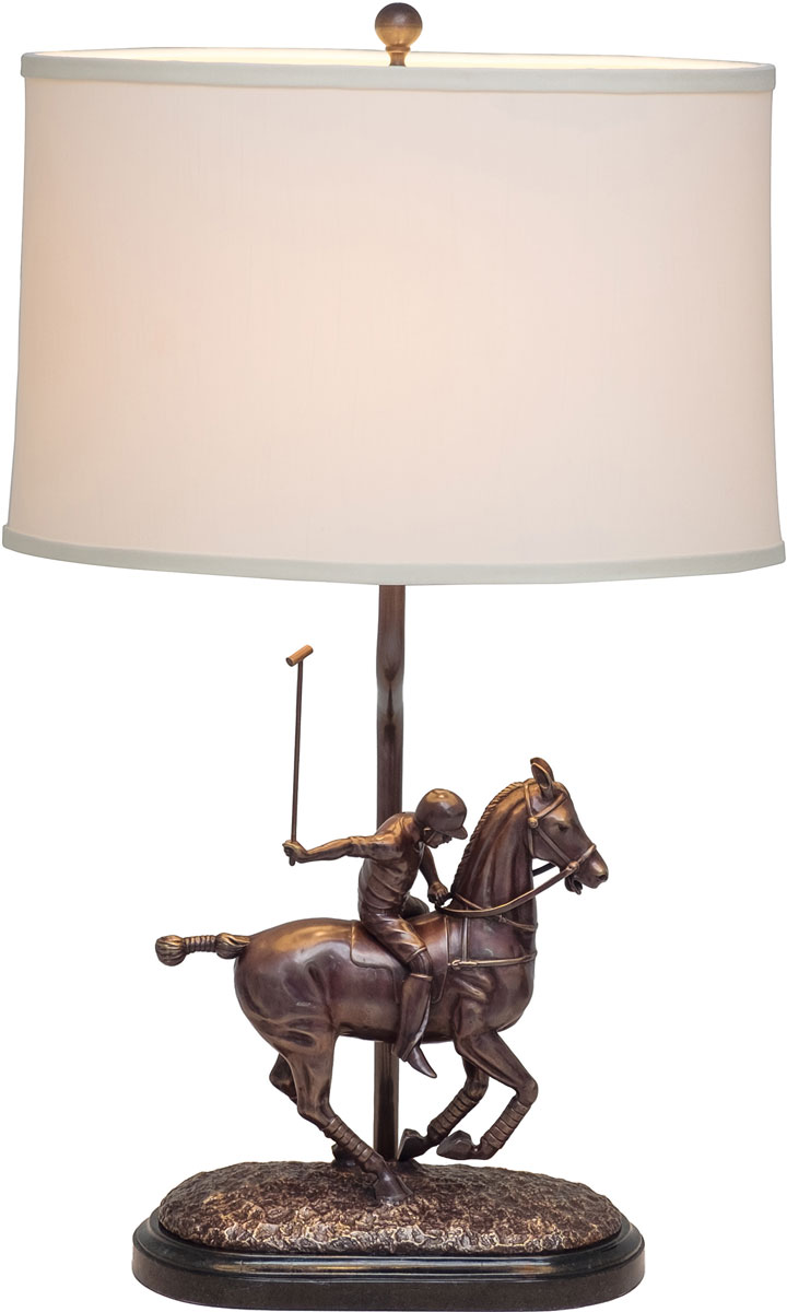 Bronze Patına Fınıshed Cast Brass Polo Player Table Lamp