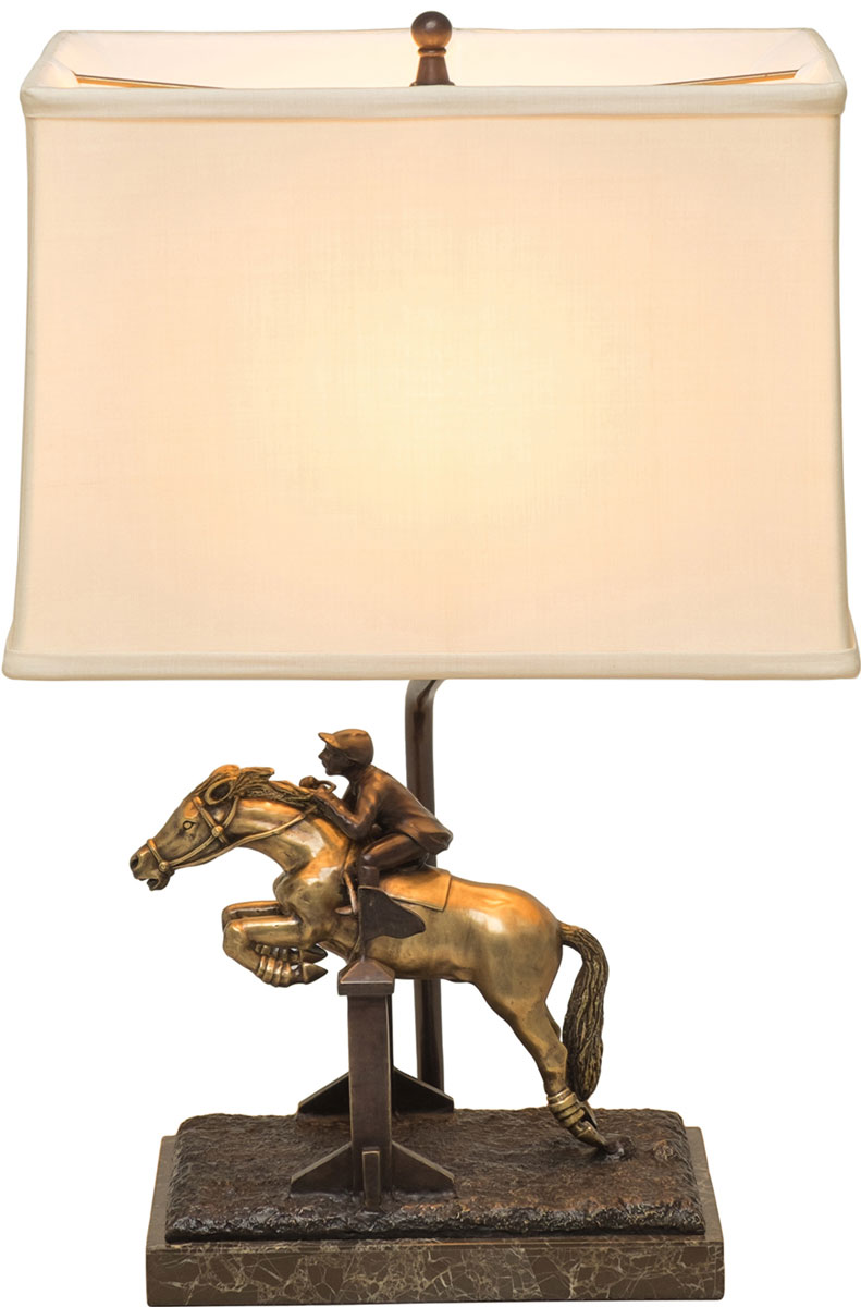 Dark Bronze and Antıque Brass Fınıshed Cast Brass Equestraın Table Lamp