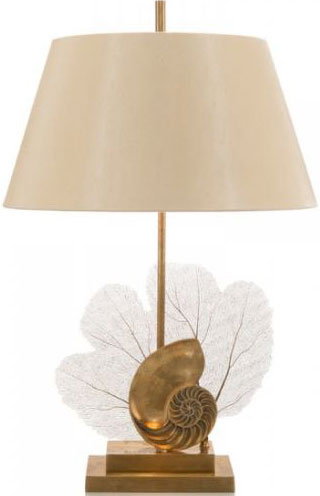 Brass Sea Fern and Shell Lamp